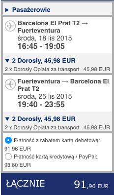 2015-11-17 Berlin Fuerteventura Wyspy Kanaryjskie 310 zl RT easyJet Ryanair 2