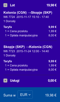 2015-11-17 Berlin Kolonia Skopie Macedonia 168 zl RT Ryanair Wizz Air 2