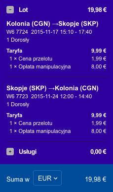2015-11-17 Berlin Kolonia Skopie Macedonia 168 zl RT Ryanair Wizz Air 2