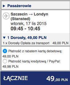 2015-11-17 Szczecin Saragossa Bergamo Poznan 268 zl RT Ryanair Wizz Air 1