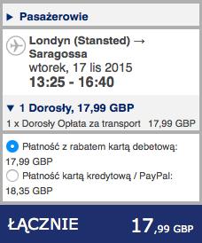 2015-11-17 Szczecin Saragossa Bergamo Poznan 268 zl RT Ryanair Wizz Air 2