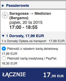 2015-11-17 Szczecin Saragossa Bergamo Poznan 268 zl RT Ryanair Wizz Air 3