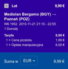 2015-11-17 Szczecin Saragossa Bergamo Poznan 268 zl RT Ryanair Wizz Air 4