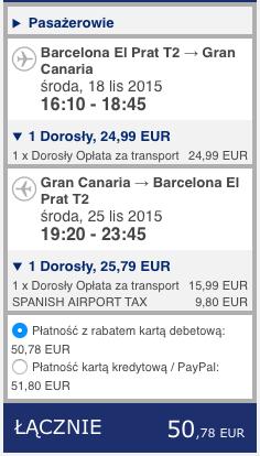 2015-11-18 Berlin Barcelona Gran Canraia Ryanair 410 zl RT 2