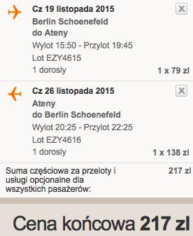 2015-11-19 Berlin Ateny easyJet 185 zl RT samotnie