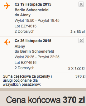 2015-11-19 Berlin Ateny easyJet 185 zl RT we dwoje