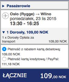 2015-11-23 Szczecin Wilno Poznan Ryanair Wizz Air 155 zl 2