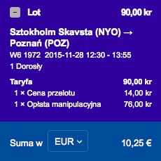 2015-11-23 Szczecin Wilno Poznan Ryanair Wizz Air 155 zl 4
