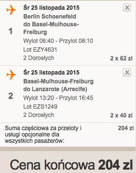 2015-11-25 Berlin Lanzarote easyJet Ryanair 292 zl RT 1