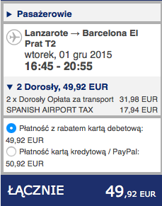 2015-11-25 Berlin Lanzarote easyJet Ryanair 292 zl RT 2