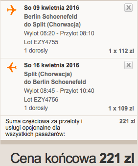 2016-04-09 Berlin Split Chorwacja 189 zl RT easyJet samotnie