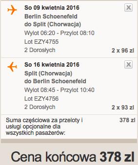 2016-04-09 Berlin Split Chorwacja 189 zl RT easyJet we dwoje 1