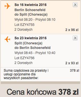 2016-04-09 Berlin Split Chorwacja 189 zl RT easyJet we dwoje 2