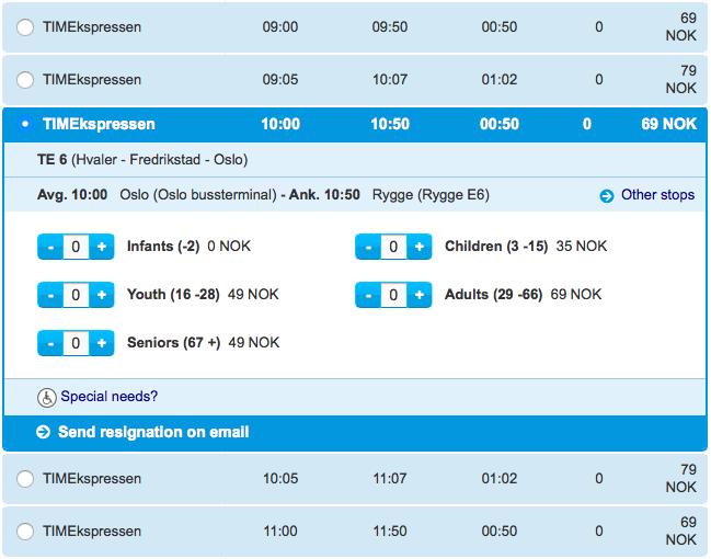 Nettbus TIMEkspressen ceny Oslo Rygge E6