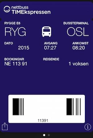 TIMEkspressen Ticket Passbook Rygge E6 Oslo Nettbus