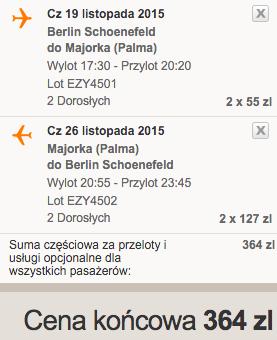 2015-11-19 Berlin Palma de Mallorca Majorka Hiszpania 182 zl RT easyJet 1