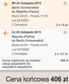 2015-11-19 Berlin Palma de Mallorca Majorka Hiszpania 182 zl RT easyJet 2