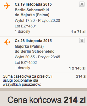 2015-11-19 Berlin Palma de Mallorca Majorka Hiszpania 182 zl RT easyJet 3