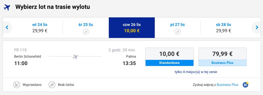 2015-11-26 Berlin Palma de Mallorca 129 zł RT Ryanair 1