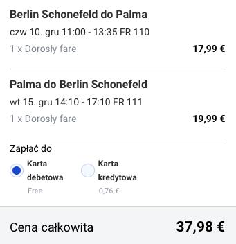 2015-12-10 Berlin Palma de Mallorca Majorka Hiszpania za 162 zl RT Ryanair 2