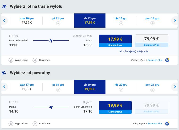 2015-12-12 Berlin Palma de Mallorca Majorka 163 zl RT Ryanair