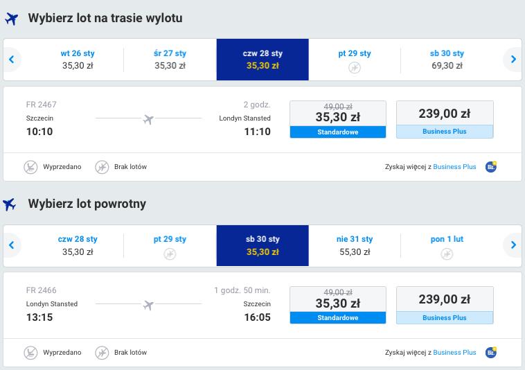 2016-01-28 Szczecin Londyn promo 71 zl RT Ryanair
