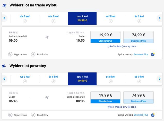 2016-04-04 Berlin Zadar Chorwacja 172 zl RT Ryanair