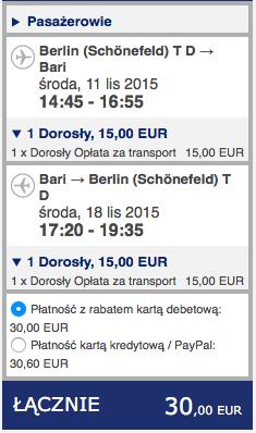 2015-11-11 Berlin Bari za 128 zl RT Ryanair