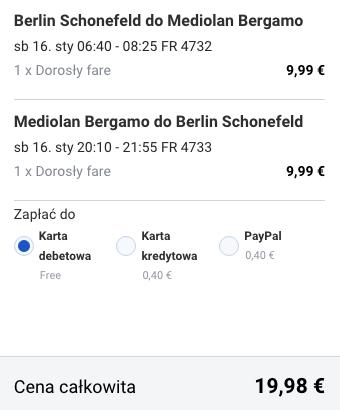 2016-01-16 Berlin Bergamo Mediolan 86 zl RT Ryanair weekend jednodniowka