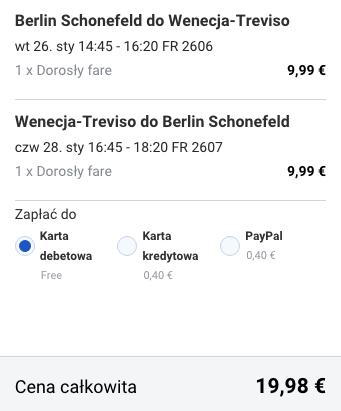 2016-01-26 Berlin Wenecja Treviso 86 zl RT Ryanair