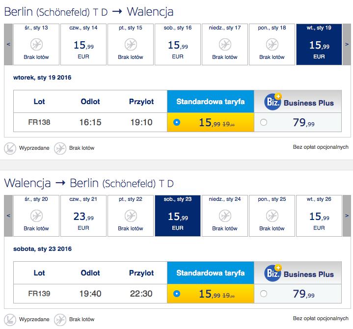 2016-01-09 Berlin Walencja 138 zl RT Ryanair