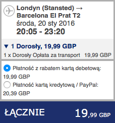 2016-01-20 Szczecin Londyn Barcelona 230 zl RT Ryanair 2