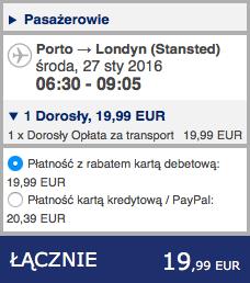 2016-01-20 Szczecin Londyn Porto 259 zl RT Ryanair 2
