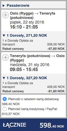 2016-01-22 Szczecin Teneryfa Wyspy Kanaryjskie 230 zl RT Ryanair 2