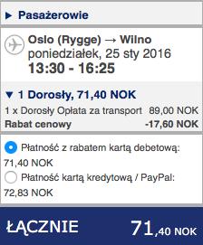 2016-01-25 Szczecin Wilno Poznan 148 zl Ryanair Wizzair 2