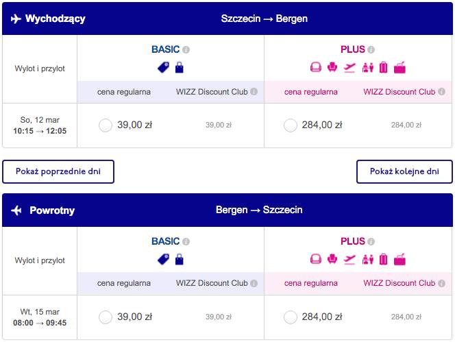 2016-03-12 Szczecin Goleniow Bergen Norwegia 78 zl Wizz Air