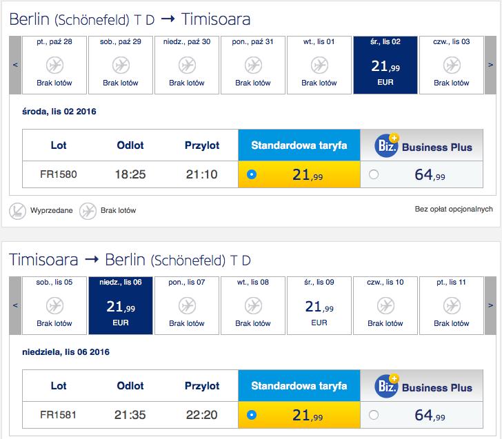 2016-11-02 Berlin Timisoara Rumunia 170 zl RT Ryanair