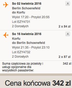 Korfu z Berlina za 171 zł RT w kwietniu easyJet 1
