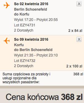 Korfu z Berlina za 171 zł RT w kwietniu easyJet 3