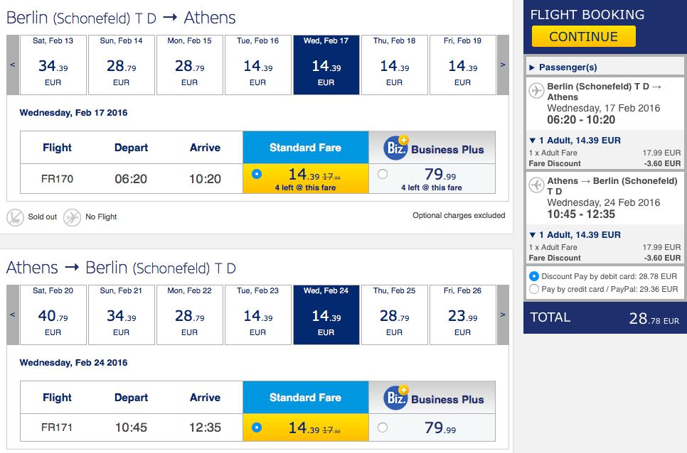 2016-02-17 Ateny Berlin Ryanair 128 zł RT