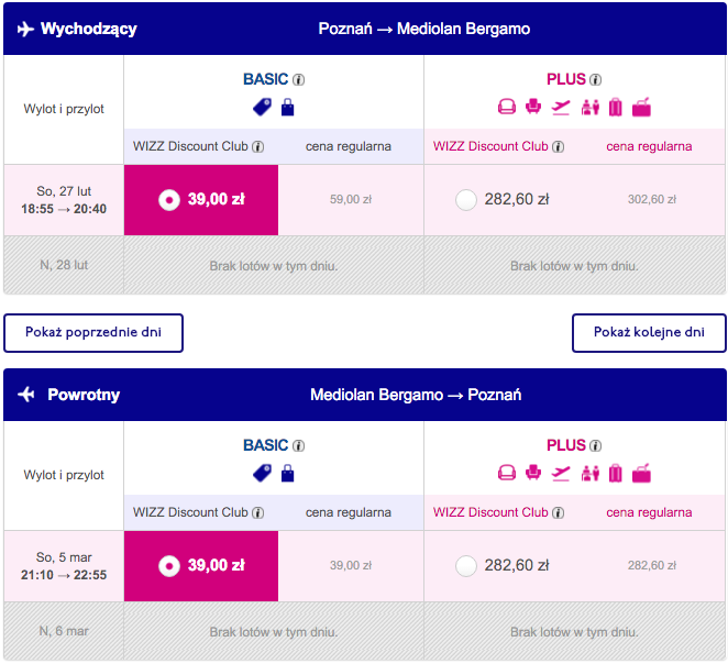 2016-02-27 Poznan Bergamo Mediolan 78 zl RT Wizz Air