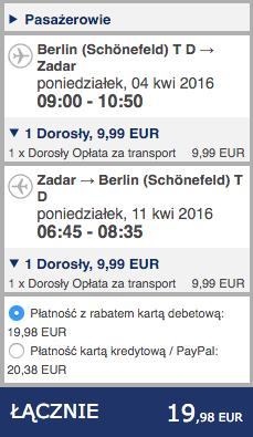 2016-04-04 Szczecin Zadar loty Ryanair Interglobus PKS 124 zl RT 2