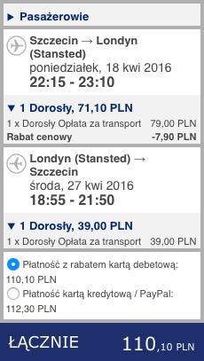 2016-04-18 Szczecin Faro Algarve Portugalia Ryanair 278 zl RT 1