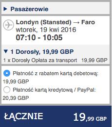 2016-04-18 Szczecin Faro Algarve Portugalia Ryanair 278 zl RT 2