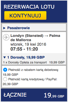 2016-04-18 Szczecin Palma de Mallorca Majorka 278 zl RT Ryanair 2