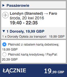 2016-04-19 Szczecin Faro Algarve Portugalia Ryanair 178 zl RT 2