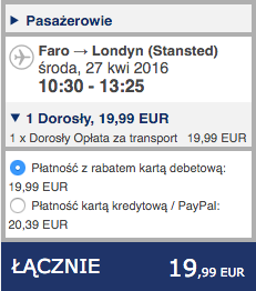 2016-04-19 Szczecin Faro Algarve Portugalia Ryanair 178 zl RT 3
