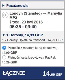 2016-04-19 Szczein lotnisko Marsylia Francja lot Ryanair 227 zl RT 2