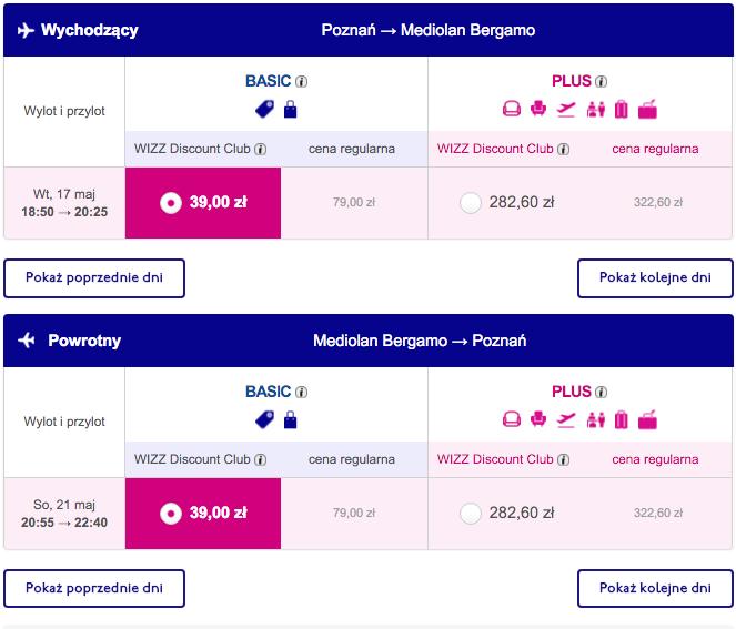 2016-05-17 Poznan Bergamo Mediolan 78 zl RT Wizz Air