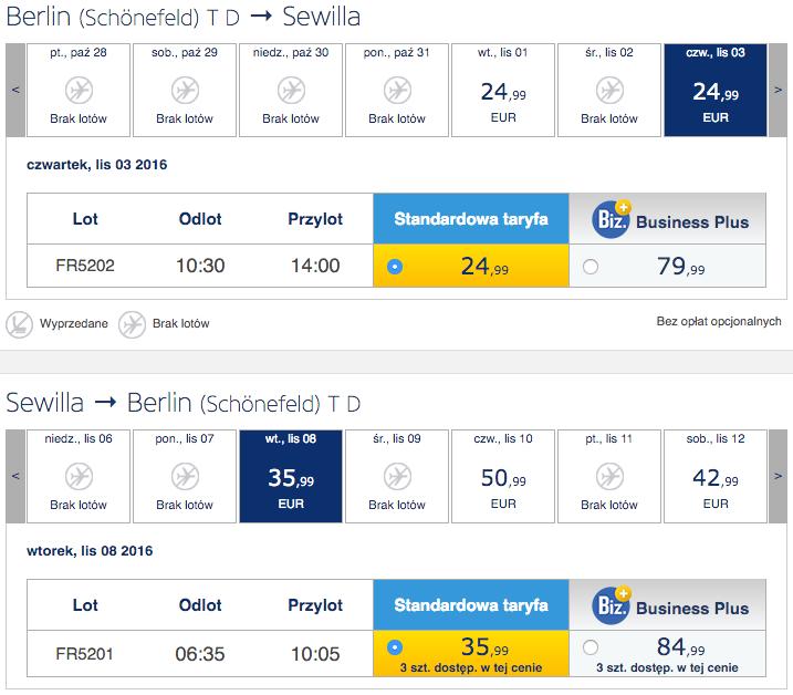 2016-11-01 Berlin Rzeszow Gran Canaria Sewilla Ryanair 2